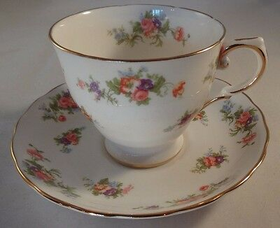 Vintage Tuscan China Floral Gilded Edge Teacup & Saucer Excellent Condition