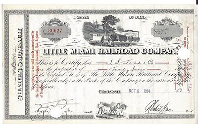 Little Miami Railroad Company.....1934 Stock Certificate