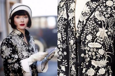 Lovely 1920S Art Deco Silk Hand Embroidered Chinese Jacket Phryne Fisher Coat