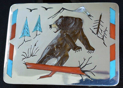 Important Zuni Belt Buckle Roland Eustace Signed Book Piece Bear in Forest Inlay