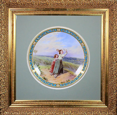 LARGE ANTIQUE MINTON BOULLEMIER PIERCED PLATE TURQUOISE BORDER FRAMED c1873