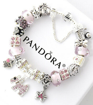 Authentic Pandora Silver Bracelet Pink Dog Crystal Mom and European Charms New