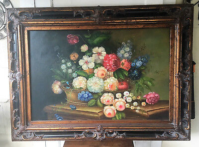 Vintage Original Oil on Canvas Floral Still Life Painting - Signed J. Hamilton