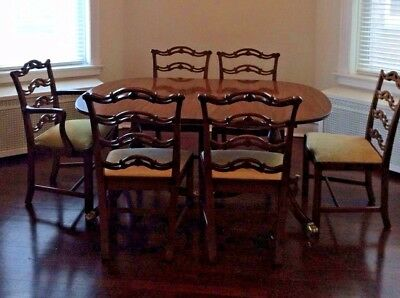 Duncan Phyfe Style Mahogany DIning Room Table and 6 Wood Chairs, 1940s