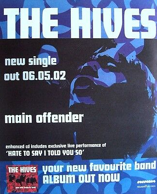 THE HIVES 2002 Poster Ad MAIN OFFENDER