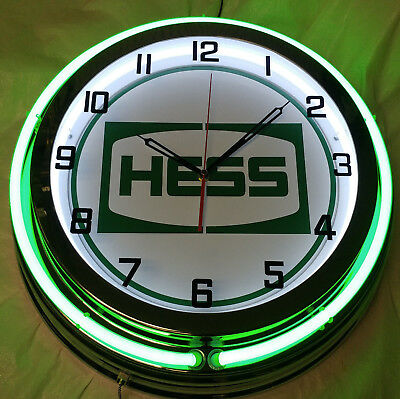 "Hess Gas Oil 19"" Double Neon Clock Green Neon Chrome Finish Gasoline Station"