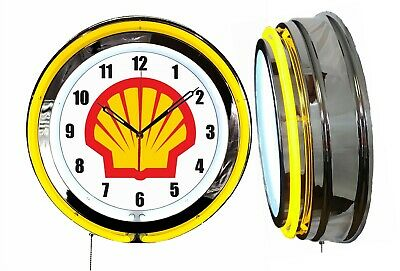 "Shell Gas Oil 19"" Double Neon Clock Yellow Neon Chrome Finish Gasoline Motor Oil"