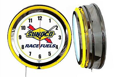 "Sunoco Race Fuels Gas Oil 19"" Double Neon Clock Yellow Neon Chrome Finish Racing"