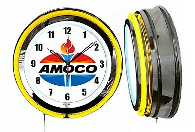 "Amoco Gasoline 19"" Double Neon Clock Yellow Neon Chrome Finish Gas Station"
