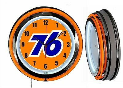 "Union 76 Gas 19"" Double Neon Clock Orange Neon Chrome Finish Gas Station"