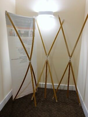 "Lot of 3 Bamboo X Banner Stands 25.5"" x 71.5"" for Trade Show w/Travel Case"