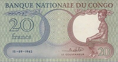 Congo Democratic Republic,20 Francs Banknote 15.09.1962 About Uncirculated Cat#4