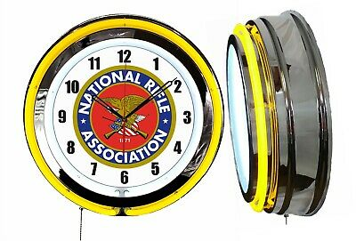 "NRA National Rifle Association 19"" Double Neon Clock Yellow Neon Chrome Finish"