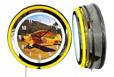 "Piper Cub 19"" Double Neon Clock Yellow Neon Chrome Finish Airplane Aircraft"