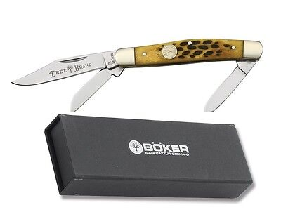 Boker pocket knife Stockman Brown bone handle Tree Brand Germany Free S&H USA