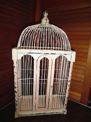 Antique Wooden Birdcage With Twisted Pillar Corners