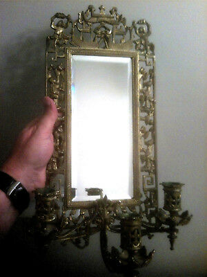 Antique Gold Gilt Brass Chinese Chippendale Sconce Mirror & 3 Candle Holder