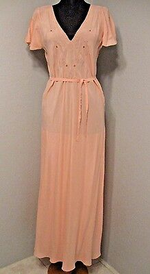 "Vintage 30's / 40's Nightgown Bust 38"" Silk ? White Peach Embroidered #1163"