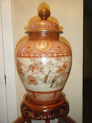 Big Antique 19Th Century Satsuma Asian Vase With Lid On Wooden Stand Beautiful