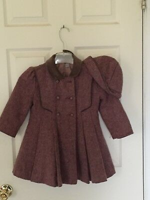 Rothschild Wool Winter Lined Coat with Matching Hat / SIZE 4