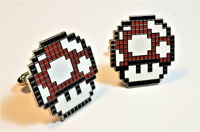 Super Mario World Bros RED MUSHROOM Pixel SNES Nintendo Cufflinks Cuff Link Set