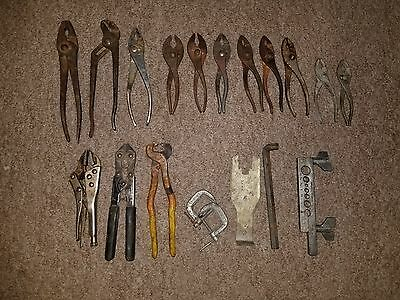 LQQK Lot of  Vintage Tools Old PLIERS WRENCH FLARE TOOL WIRE CUTTERS NAIL PULLER