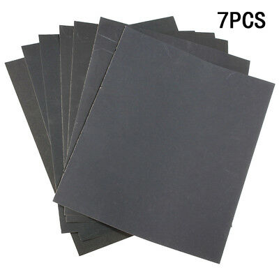 7Pcs 9''x11'' Wet/Dry Sandpaper 400-1200 Mixed 5Type Grit Medium Fine Polishing