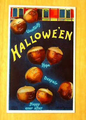 Artist Signed Ellen Clapsaddle HALLOWEEN ACORNS Postcard 1909 HOPE DESPAIR HAPPY