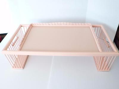 Shabby Chic Pink Wood Glass Top Breakfast In Bed Tray With Magazine Pockets RARE