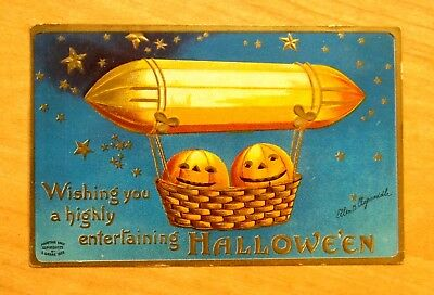 JACK-O-LANTERNS IN ZEPPELIN Artist Clapsaddle HALLOWEEN fantasy Postcard 1909