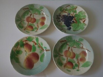 "4 St Clement French Majolica 8.5"" Fruit Plates - Peaches Pears &  Grapes"