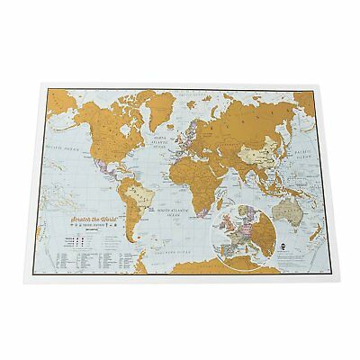 Scratch the World Travel Edition Map Print A3 Cartographic Detail Print New