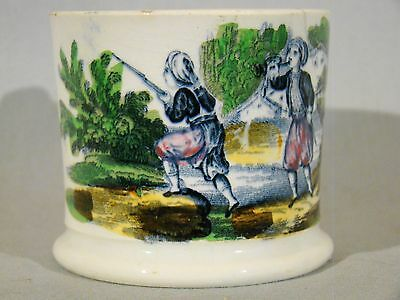 Fine Antique Staffordshire Pearlware Hunters Child's Mug early 19th c