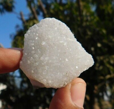106.6 Cts Fabulous  Rough  White Crystal Druzy 42X40  Loose Cabochon Gemstone