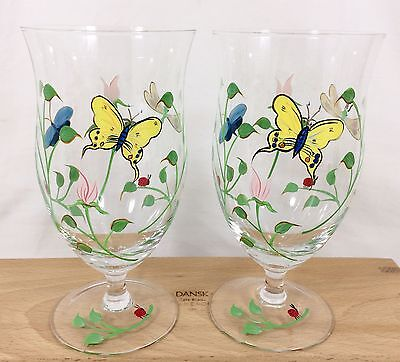 4 Lenox BUTTERFLY MEADOW Iced Tea Beverage Glass Goblets HandPainted Set RETIRED