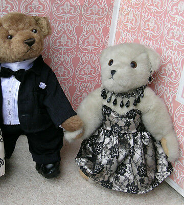 BEAR FACTORY black lace dress and homemade purple dress for teddy bear. Like new