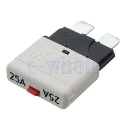 Fuse Circuit Breaker Manual Reset Blade Car Automotive Resetable 25A White WS