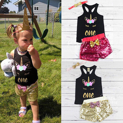 US Stock Unicorn Toddler Kids Baby Girls T-shirt Tops Vest+Shorts Pants Outfit