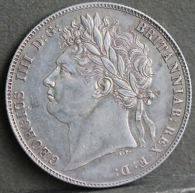 George IV Serling Silver Half Crown, 1820, EF. Possibly Cleaned?