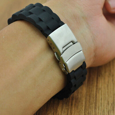 Black Silicone Rubber Watch Strap Band Deployment Buckle Waterproof 20mm 22mm JD