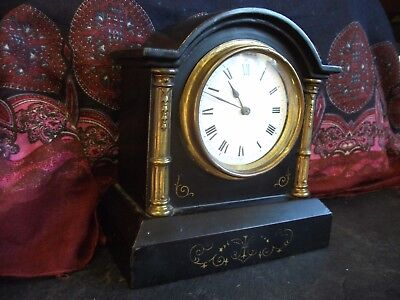 French Circa 1890 Cast Iron 8 Day Mantle Clock, Very Unusual And Rare, Working.