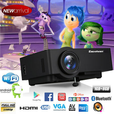 WiFi 1080P 4K Video Android LED Projectors Home Cinema HDMI/USB/AV/VGA/TF 1G+8GB