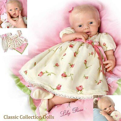 "Ashton Drake ""LILY ROSE""-LIFELIKE 21"" SILICONE BABY DOLL-HAND ROOTED HAIR- NEW !"