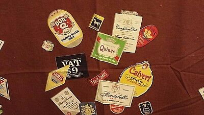 FAB MCM Wilendur Vintage Tablecloth Labels Liquors Whiskey Champagne Christmas!