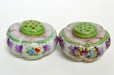 Antique Tomato Ribbed Hand Painted Floral Porcelain Salt Pepper Shakers