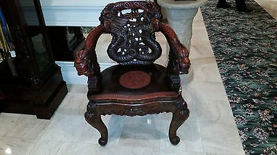 "Antique Oriental Chair 36"" High 27"" Wide Color Dark Red"