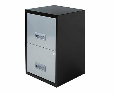 Pierre Henry 2 Drawer Maxi Filing Cabinet A4 - Color: Black/Silver