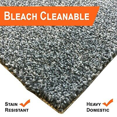 Bleach Cleanable Soft Saxony BLACK Carpet Hessian Back FAST FREE DELIVERY