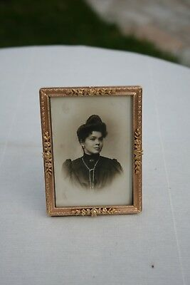 ANTIQUE FRENCH GILT BRONZE SMALL PHOTO FRAME EMPIRE VICTORIAN STYLE STAND XIXth