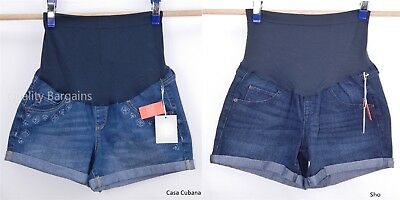 NEW Women's a:glow Full Coverage Belly Band Stretch Denim Jean Shorts size 14